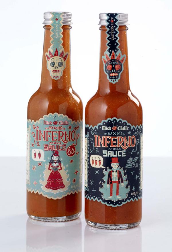 Diseño de etiqueta para Inferno Sauce