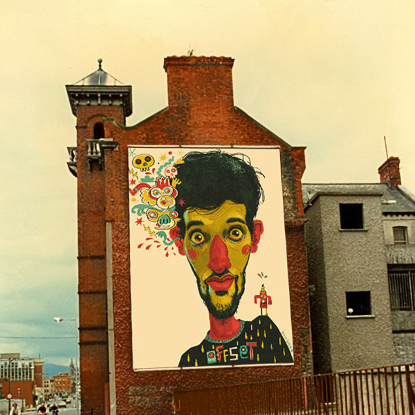 Ilustración Jon Burgerman en fachada