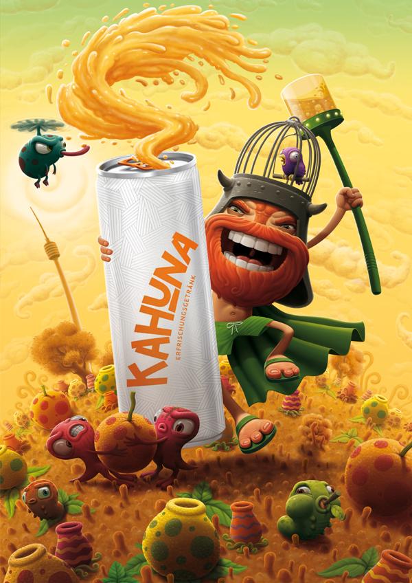 Ilustración para pieza publicitaria para Kahuna