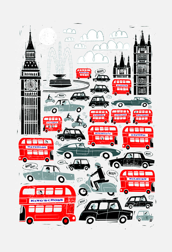 Ilustración titutlada London traffic