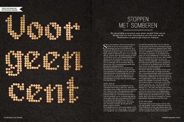 Diseño de doble página con ilustración tipográfica realizada con monedas