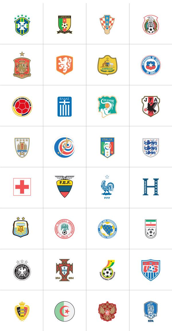 escudos de los equipos participantes en el Mundial de Brasil 2014