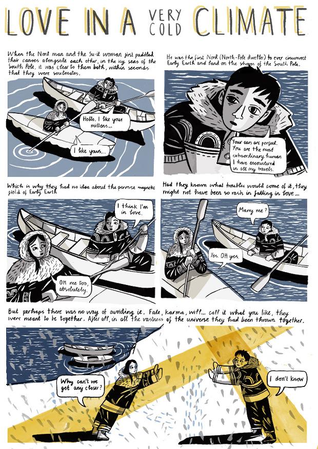 Ilustración para la novel gráfica titulada Love in a cold climate