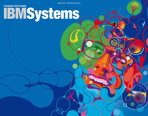 ilustración para pieza publicitaria de IBM