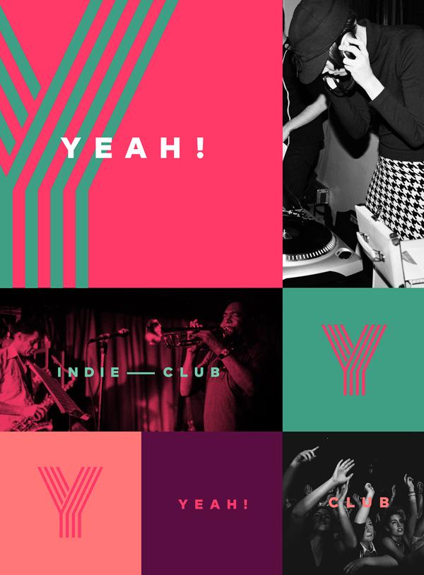 Diseño de identidad para un Club Indie, YEAH!