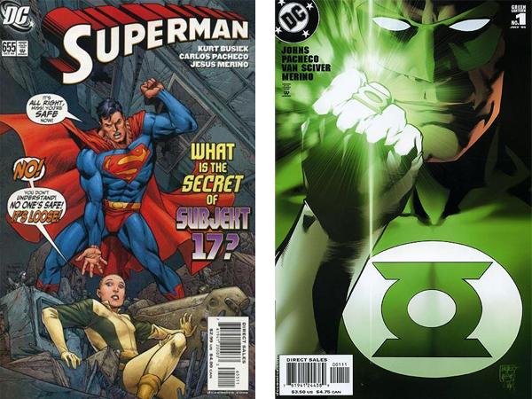 Portadas de los cómics de Super Man y Linterna Verde