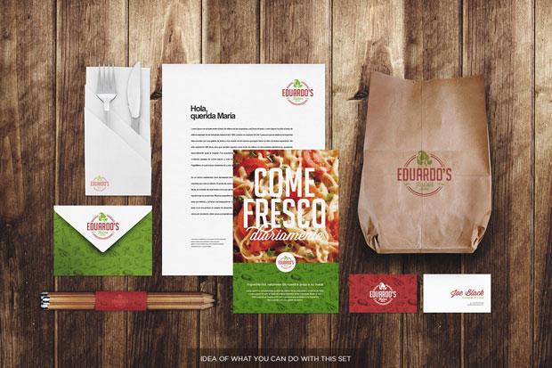 Mockup de identidad corporativa para restaurantes y alimentación