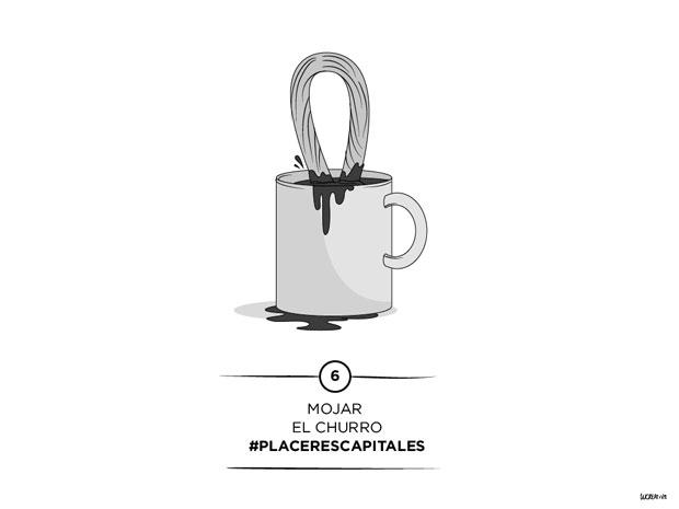 #placerescapitales – mojar el churro – ilustración