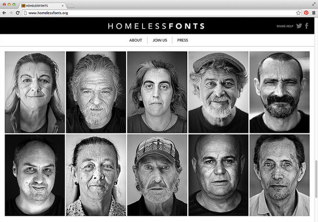 Página web de Homeless Fonts
