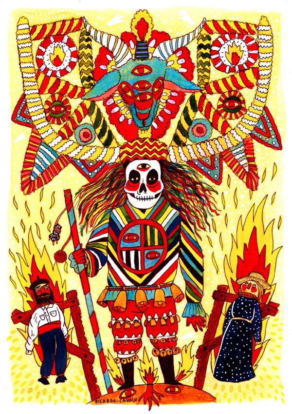 Ilustración titulada danza macabra