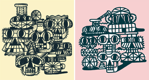 Ilustración de Yker Moreno titulada SKULLS ILLUSTRATIONS