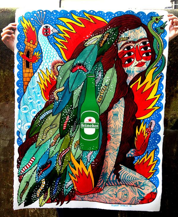 Ilustración para campaña Heineken