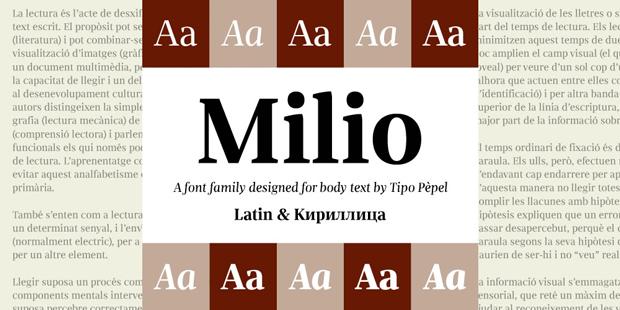 Tipografía Milio, de Pep Patau