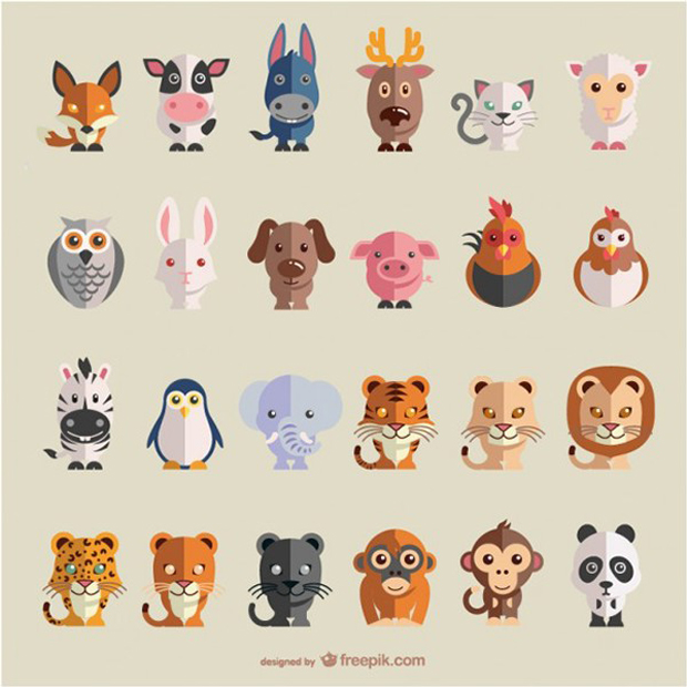 Set de iconos de animales en vectorial en descarga libre