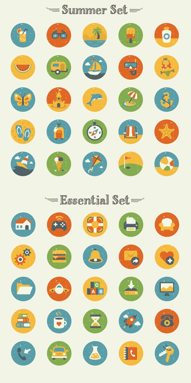set de iconos veraniegos en flat design