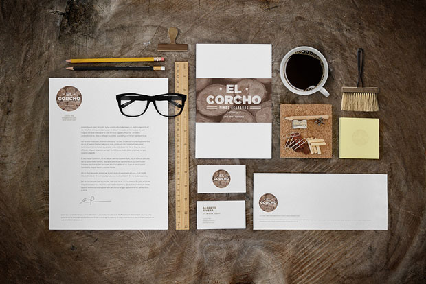 MockUp – papelería corporativa – el corcho