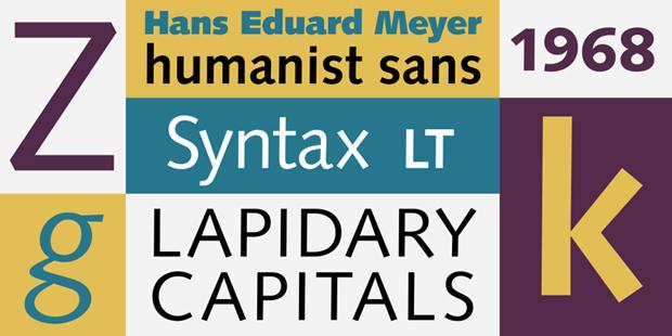 Syntax – tipografía diseñada por Hans Eduard Meier