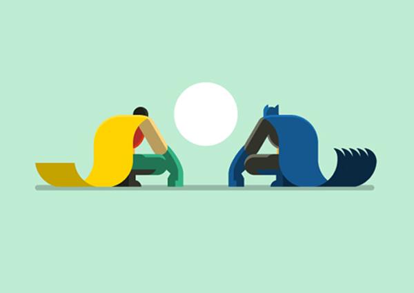 Batman y Robin – ilustrados en flat desing por Bunka Design