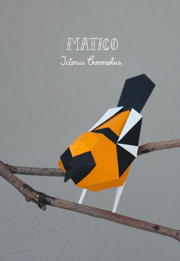 Matico – pájaro esculpido en papercut