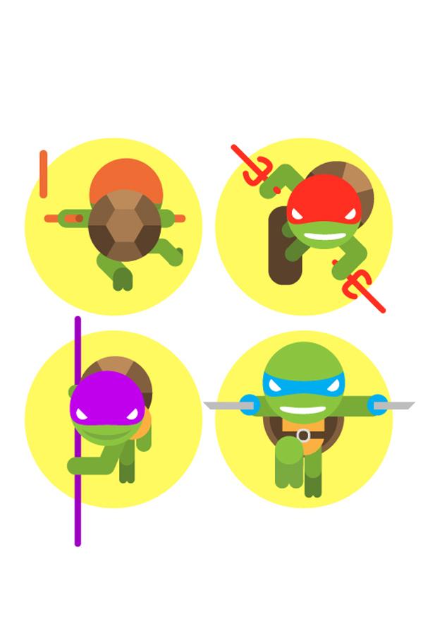 Tortugas Ninja - ilustraciones minimalistas de Yann le Neve