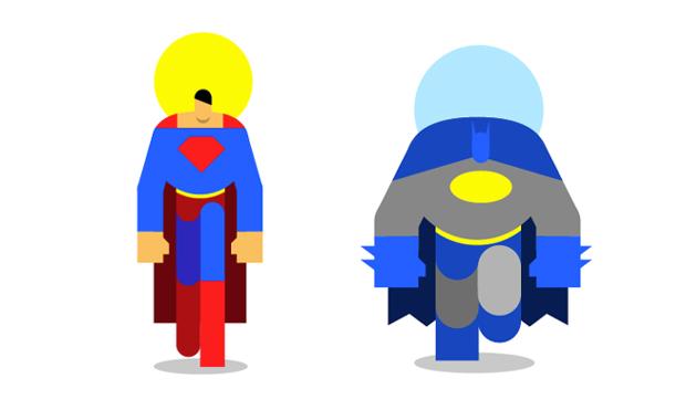 Superhéroes pasados por la 'plancha' flat design de Bunka