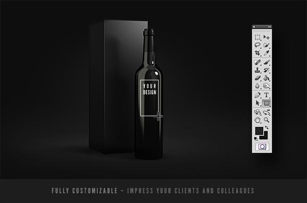MockUp de botellas de vino