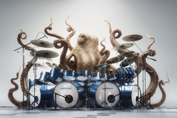 Imagen fotorrealista titulada 'Metal Octopus'
