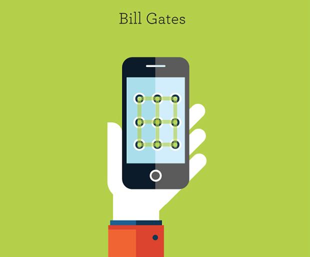 Ilustración de personajes famosos: Bill Gates