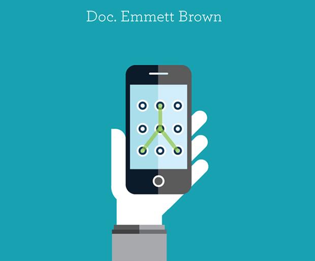 Ilustración de personajes famosos: Emmett Brown