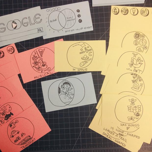 bocetos del doodle interactivo dedicado a John Venn, maestro de los diagramas