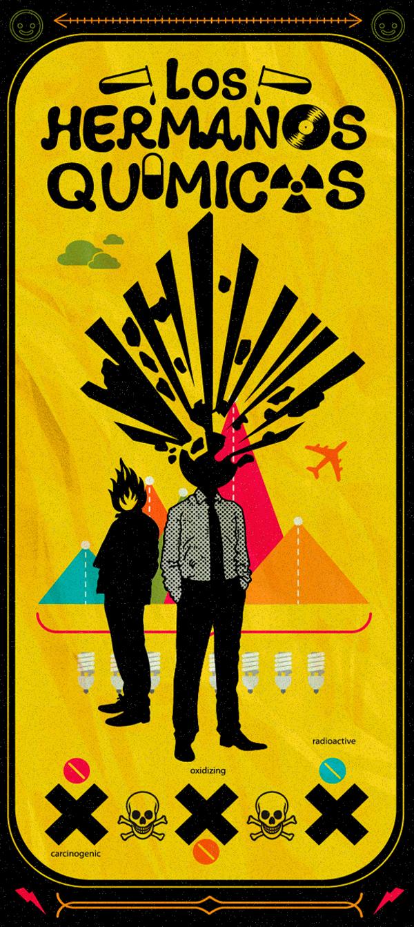 Cartel perteneciente a la serie de bandas de rock ilustradas y traducidas al español