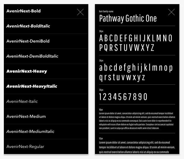 Font Viewer app – visualizador de fuentes para iPhone