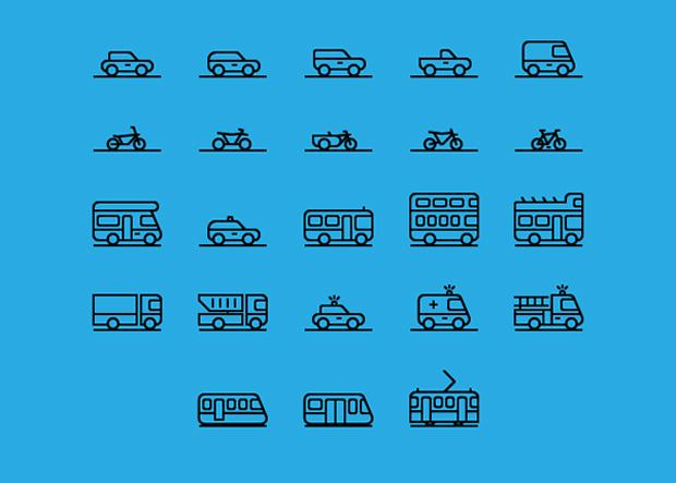 71 iconos de medios de transporte y tráfico en vectorial gratuitos diseñados por Gustavo Cramez