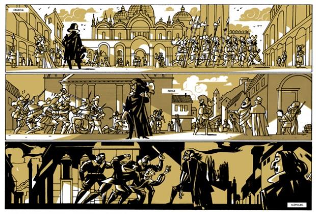El dibujante Javier Olivares ilustra la novela gráfica Las Meninas (Astiberri, 2014)