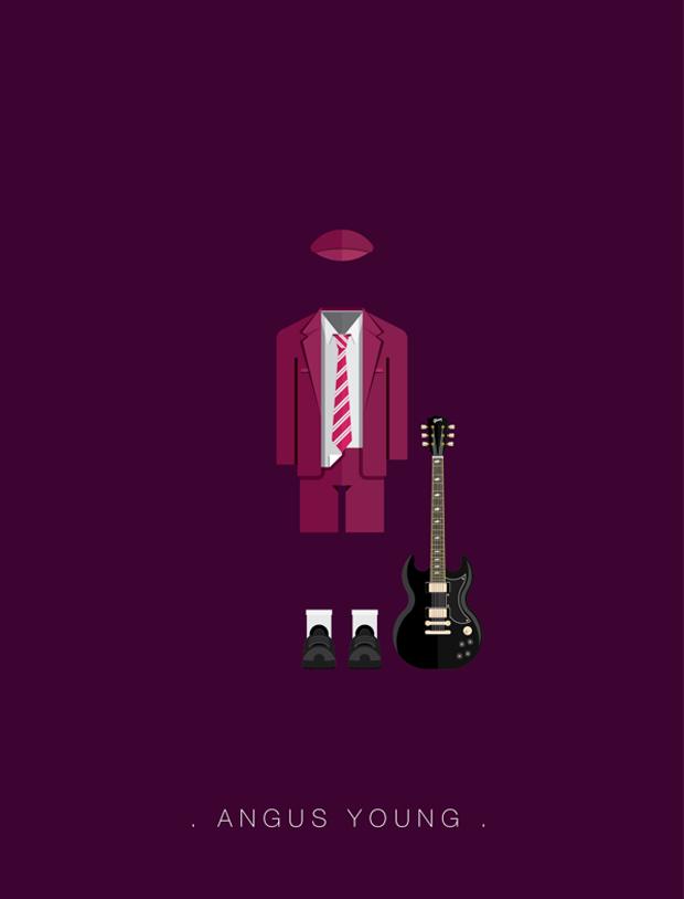 La vestimenta del rock ilustrada –  Angus Young