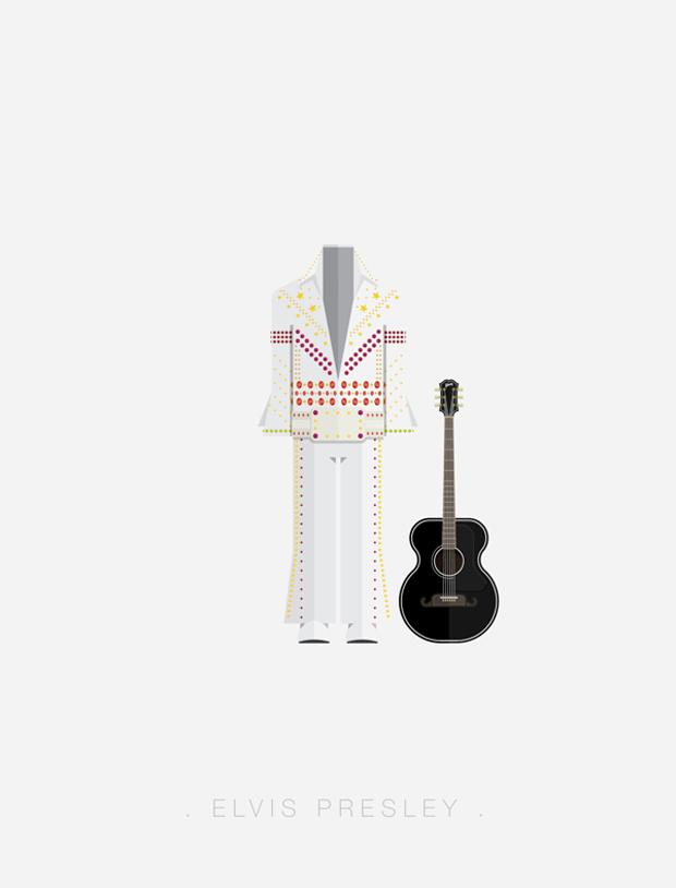 La vestimenta del rock ilustrada por Fred Birchal  – Elvis presley