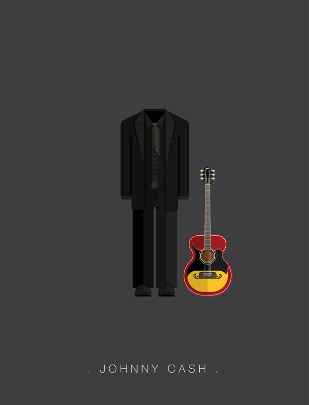 La vestimenta del rock ilustrada por Fred Birchal  – Johnny Cash