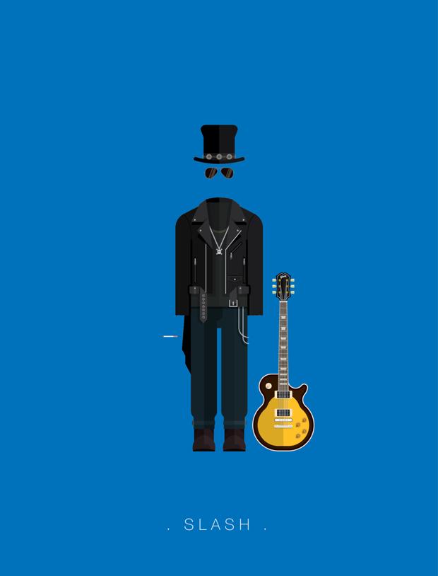 La vestimenta del rock ilustrada por Fred Birchal  – Slash