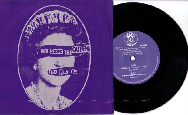Jamie Reid God Save the Queen diseño de portada del single