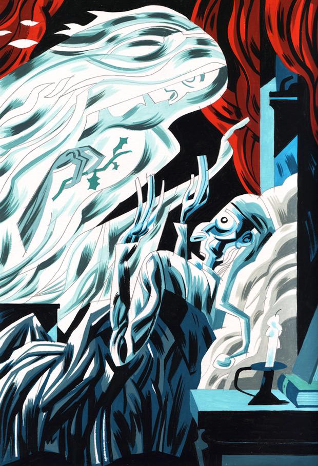 ilustración de los Cuentos de Dickens del dibujante Javier Olivares