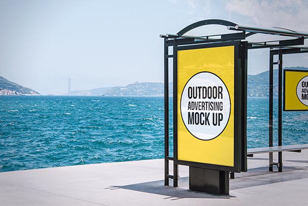 mock-up gratuito para publicidad exterior