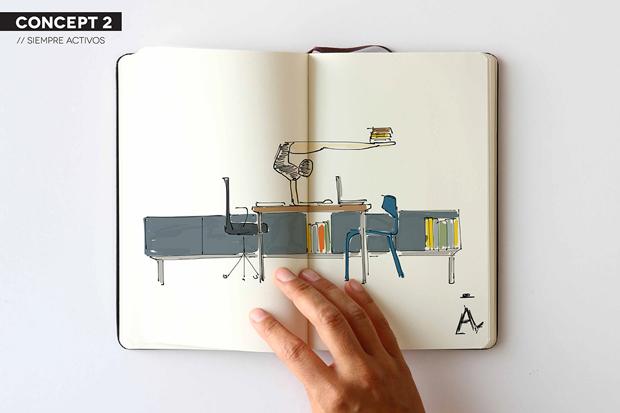 Odosdesign – bocetos Actiu muebles de oficina