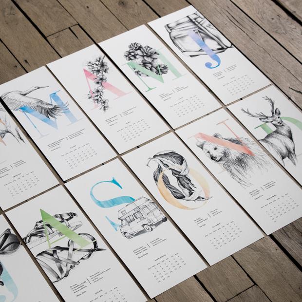 Calendario 2015 ilustrado con 12 haikus por Carla Cascales Alimbau