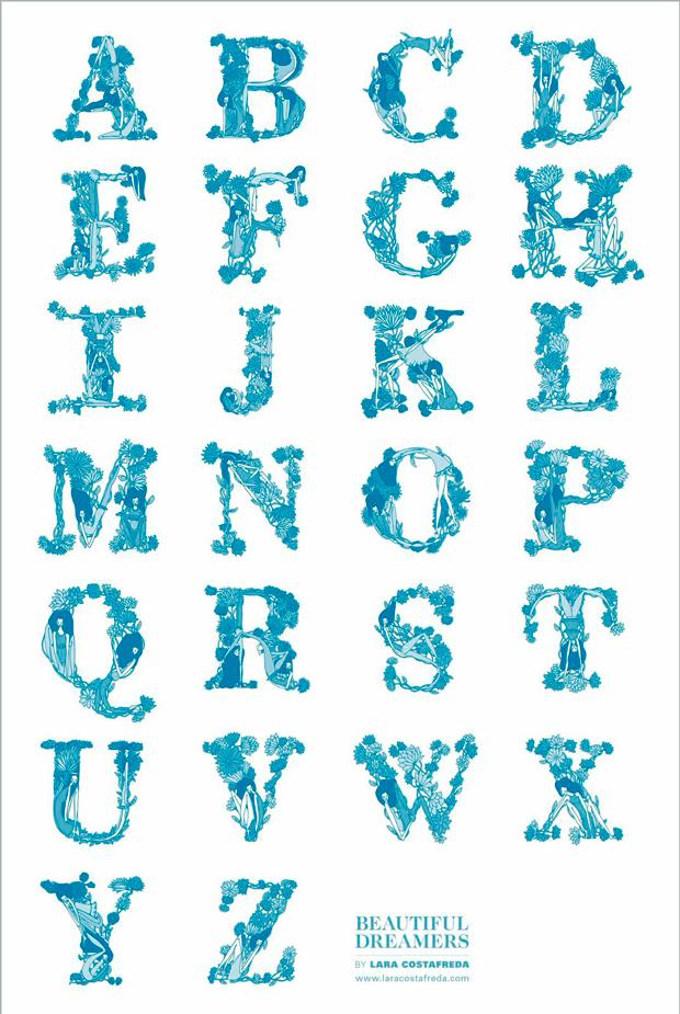 abecedario ilustrado de Lara Costafreda