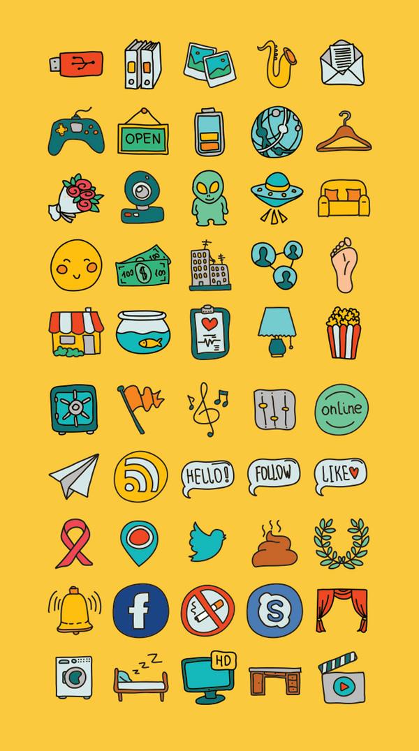 50 iconos vectoriales gratuitos dibujados a mano
