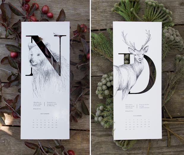Calendario 2015 ilustrado con 12 haikus por Carla Cascales