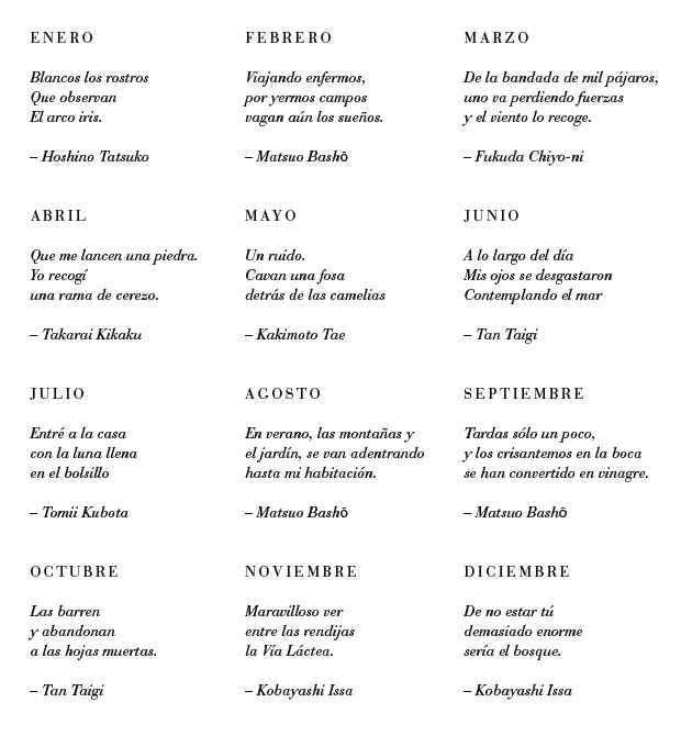 haikus ilustrados calendario 2015