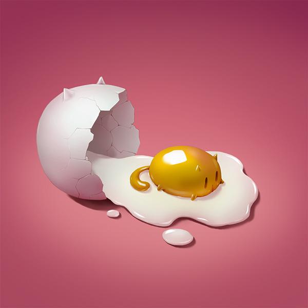 ilustración huevo gato