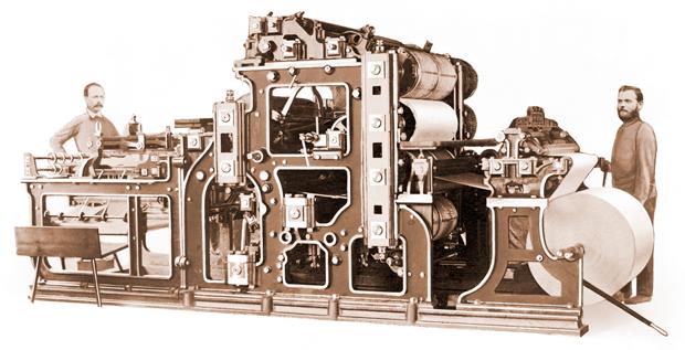 rotativa a vapor creada por Friedrich Koenig y Andreas Bauer en 1814