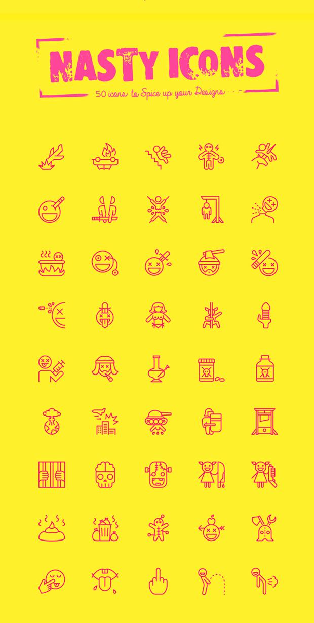 50 iconos muy nasty, en vectorial y en descarga gratuita